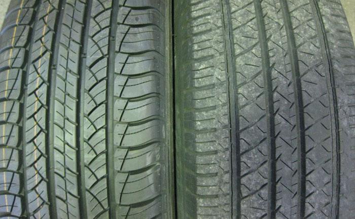 新品タイヤ古タイヤ溝比較
