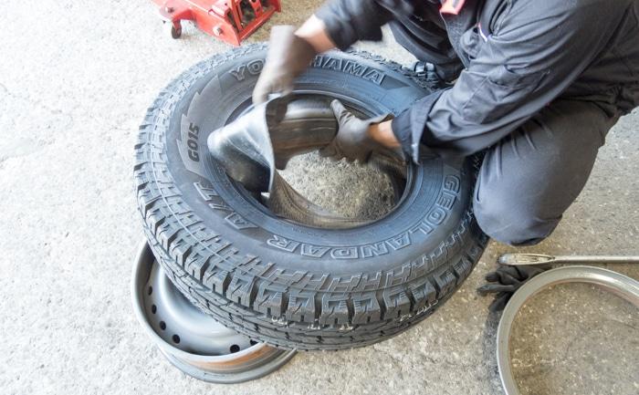 ランドクルーザー チューブタイプ タイヤ交換 リング付き