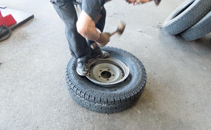 リング付きホイール タイヤ交換