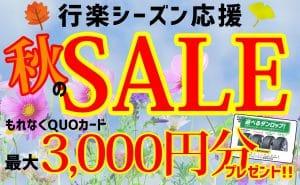 [秋のSALE!!]最大3,000円分QUOカードプレゼント&工賃無料[行楽シーズン応援!!]